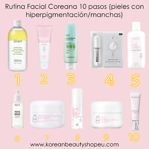 Rutina Facial Coreana 10 pasos (pieles con hiperpigmentacion manchas)