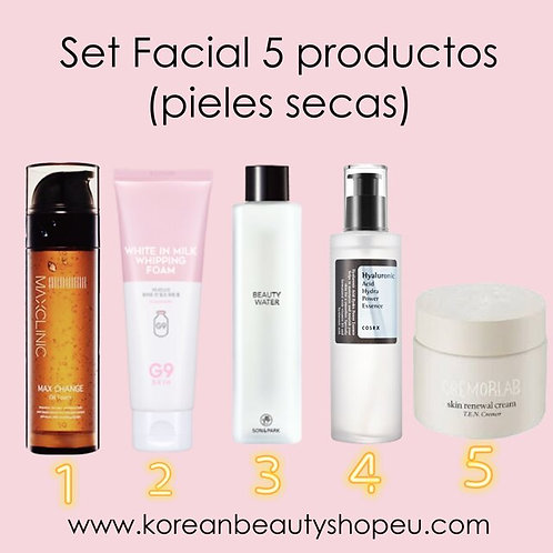 Set Facial de 5 productos (pieles secas)