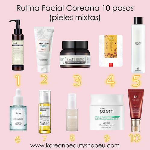Rutina Facial Coreana 10 pasos (pieles mixtas)