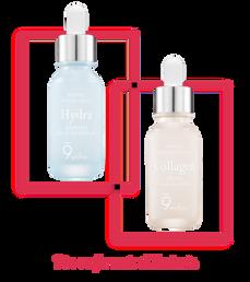 Duo de ampollas faciales coreanas reafirmantes e hidratantes