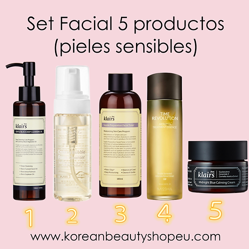 Set Facial 5 Productos Para Pieles Sensibles