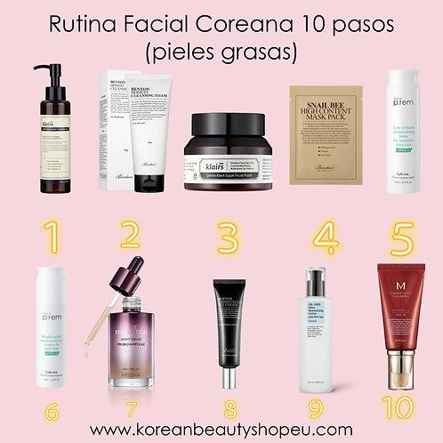 Rutina Facial Coreana 10 pasos (pieles grasas)