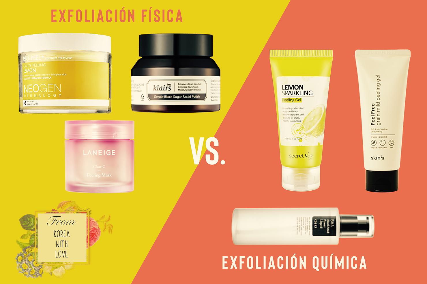 Exfoliación física vs. química