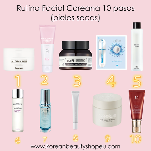 Rutina Facial Coreana 10 pasos (pieles secas)
