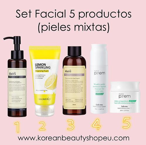 Set Facial 5 Productos Pieles Mixtas