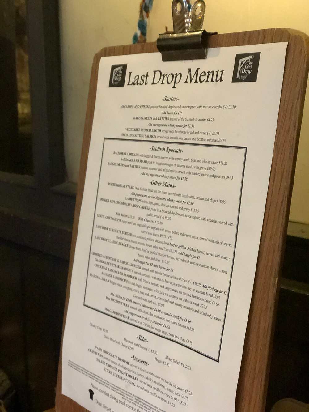 The Last Drop Menu in Edinburgh, Scotland