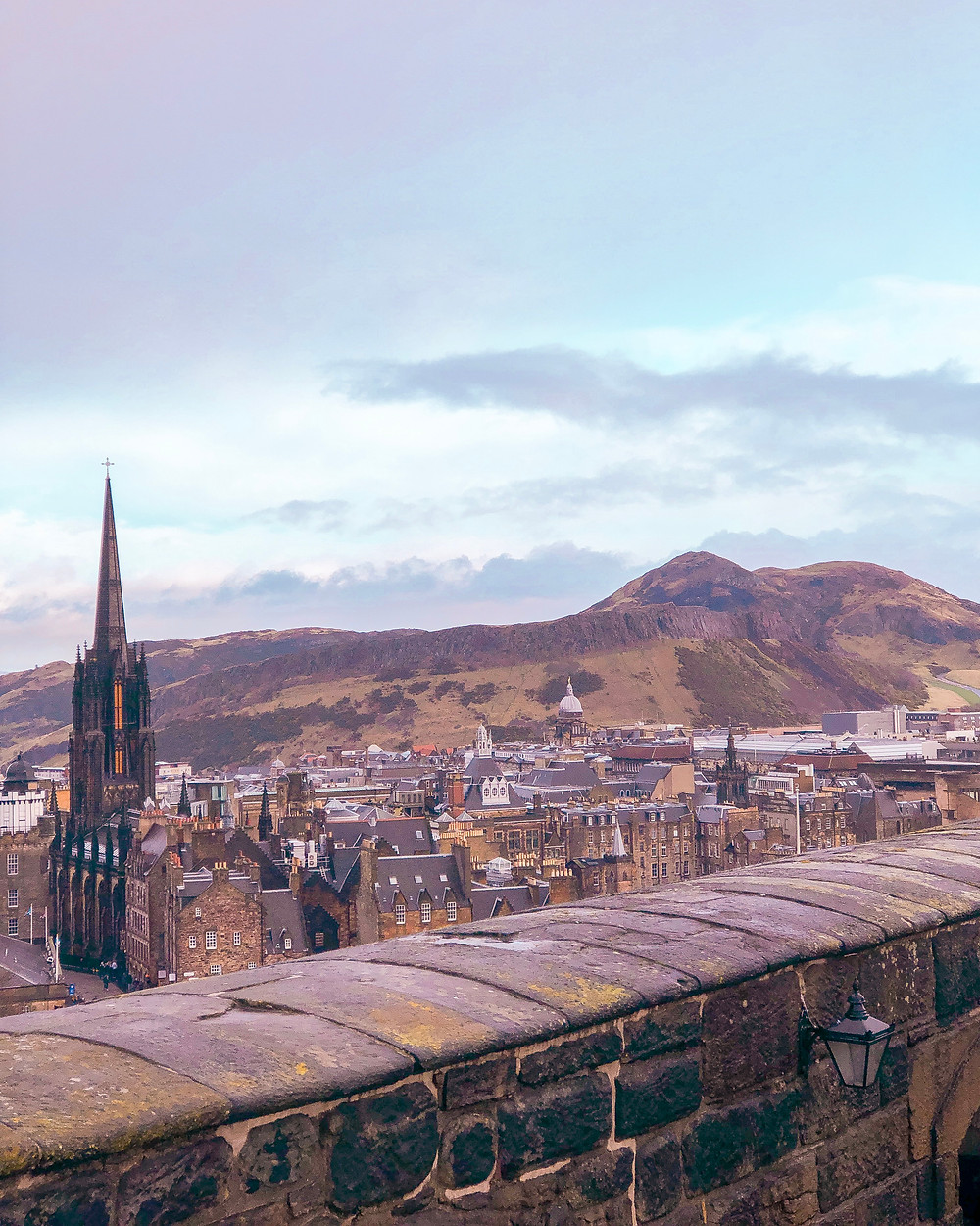 a beautiful view of Edinburgh city from Castle Hill
