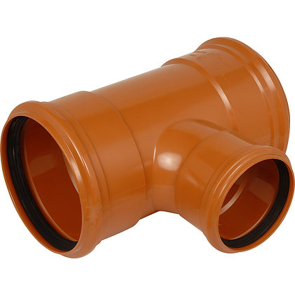 Underground uPVC 160/110mm Triple Socket Equal Junction 87.5deg