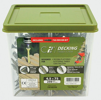 In-Dex Green Decking Screws 4.5 x 65mm Pk250