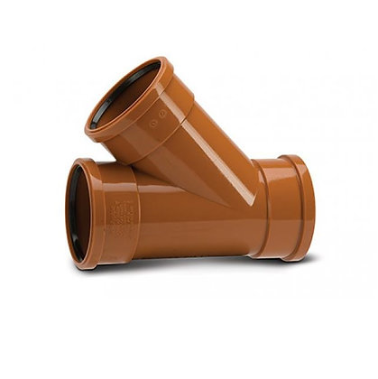 Underground uPVC 110mm Triple Socket Equal Junction 45deg