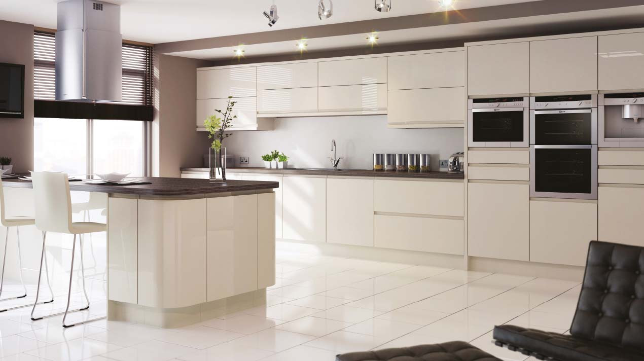 Mackintosh Integral Gloss Ivory Handleless Kitchen Units