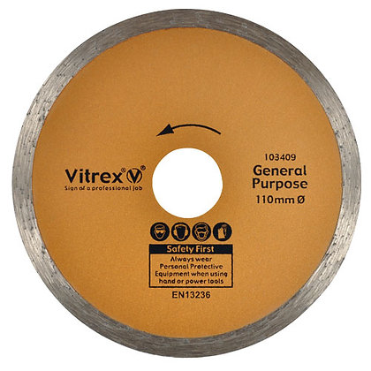 Vitrex General Purpose Tile Cutting Diamond Disc 110 x 22mm VIT103409