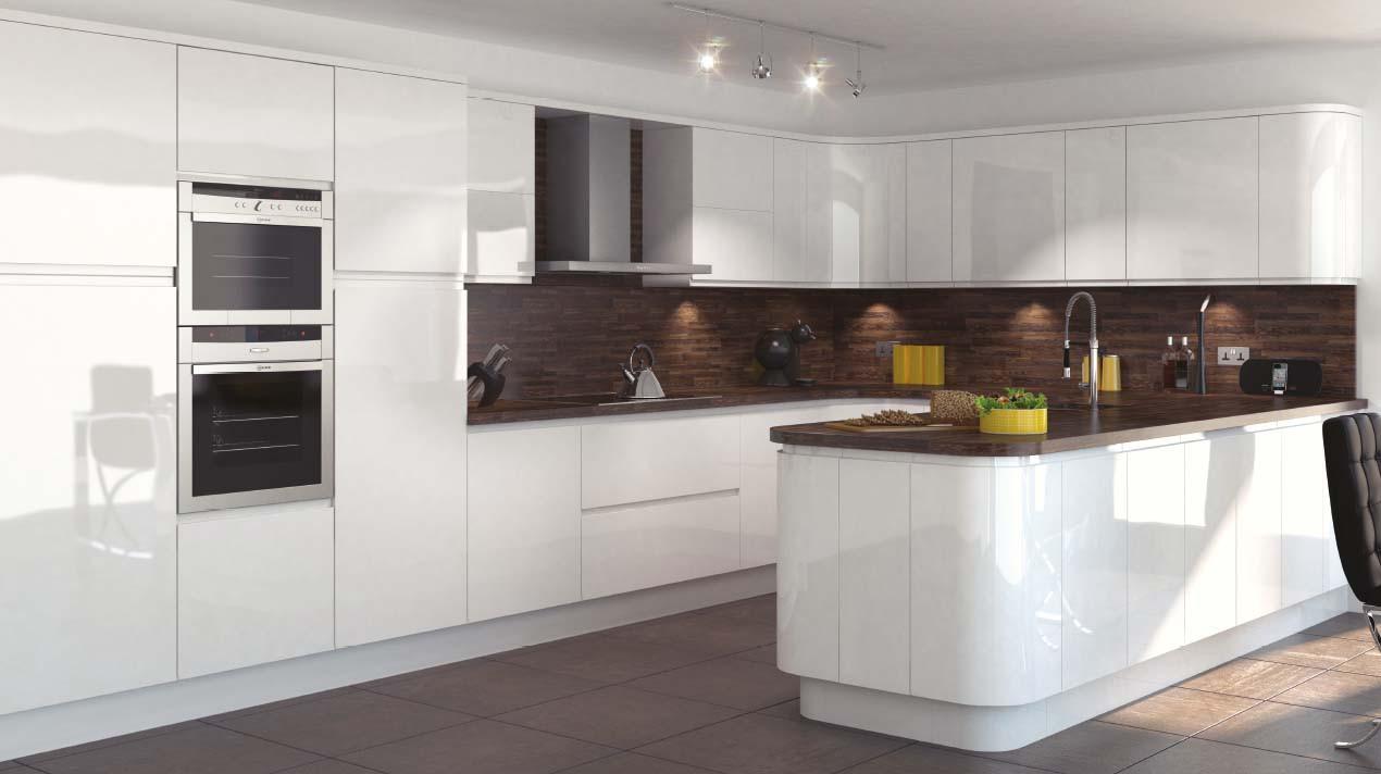 Mackintosh Integral Gloss Kitchen in White Lacquered Finish