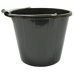 Black Plastic Builder's Bucket 14L