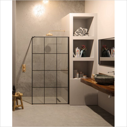 Matki One Wet Room Panel 900mm With Wall Brace Black