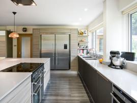 Lisa Melvin Design Kitchen Units in Driftwood & Bronze Glass