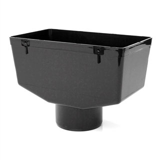 Half Round Rainwater 112mm Gutter Hopper Black
