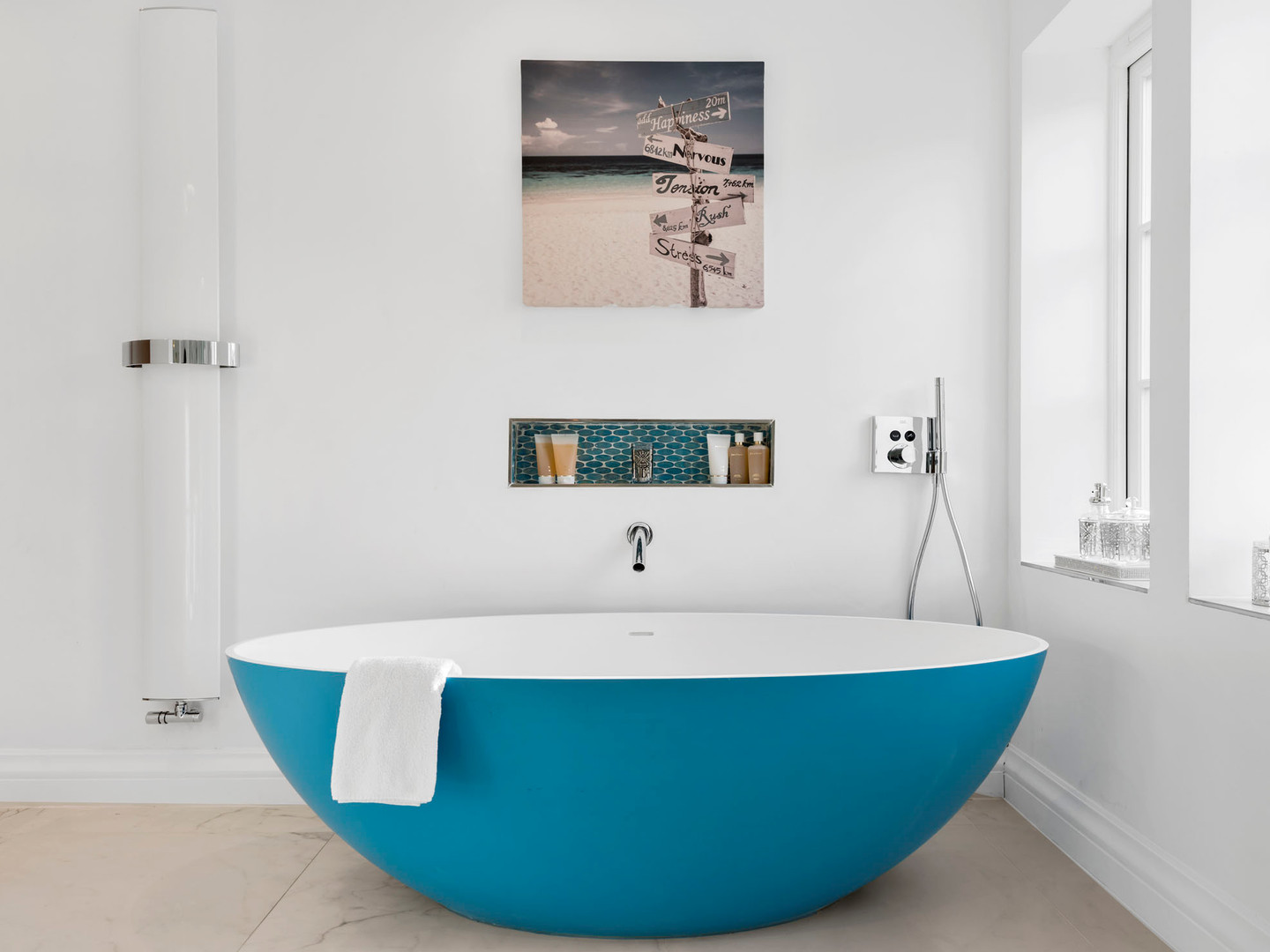 Waters Elements Ellipse - 1760mm Stone Freestanding Bath St Giles Blue