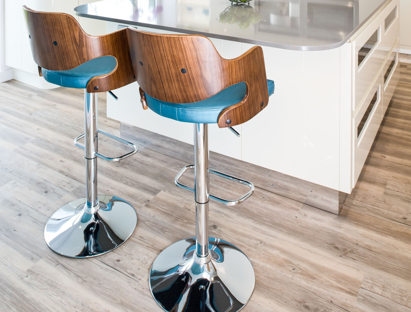 Freya Stools in Walnut & Teal by Kuche & Bagno