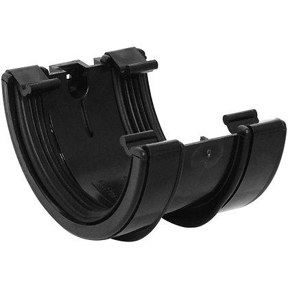 Half Round Rainwater 112mm Gutter Union Bracket Black