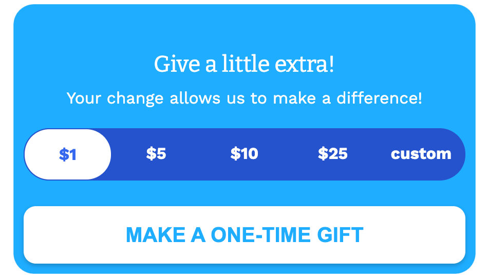 One-Time Donation option