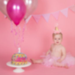 Girl Pink Cake Smash Photoshoot