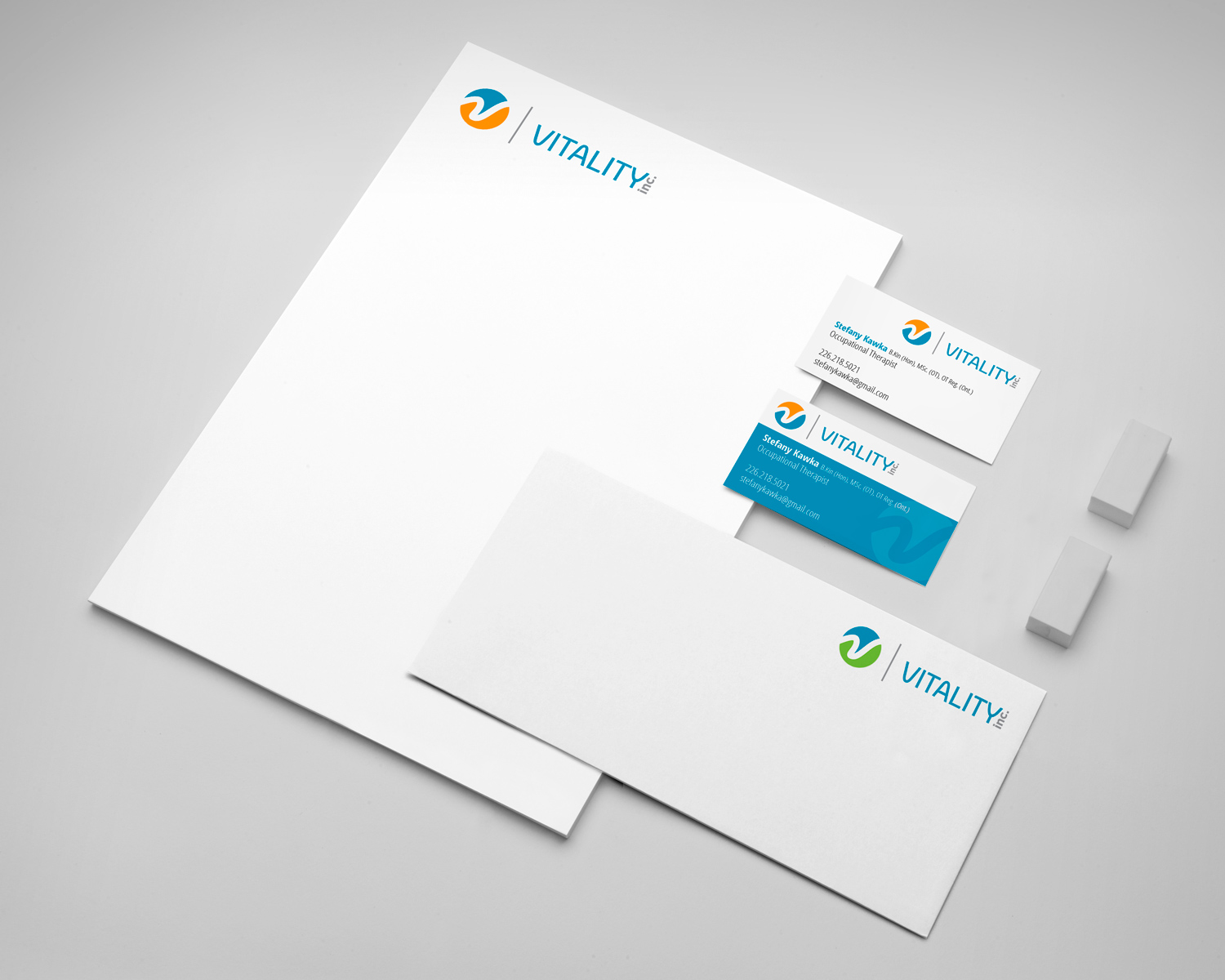 Vitality logo and stationery