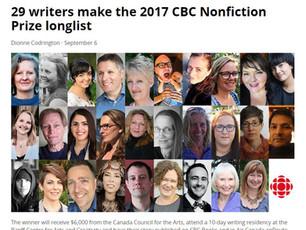 CBC Nonfiction Prize 2017 - longlisted!