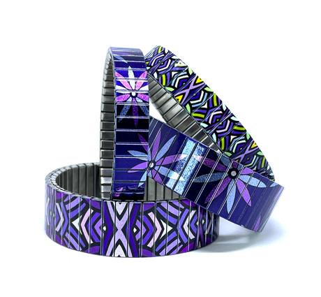 Circles Mandala + Flowers Daisies bracelets