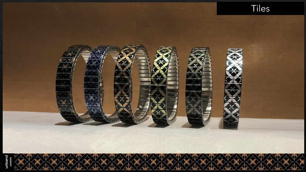 Skinny metallic bracelets from the Tiles collection by Urband London