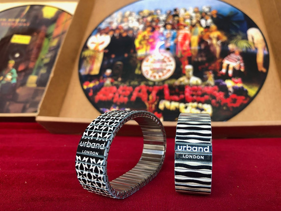 Urband London stylish and elegant stainless steel bracelets dancing on the red carpet to The Beatles Segent Peppers Lonely Hearts Club Band... with a little help from my friends