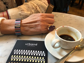 Urband London Waves Mosaic stainless steel bracelet at the coffee shop