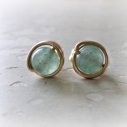 Contempo Green Aventurine Gold Stud Earrings