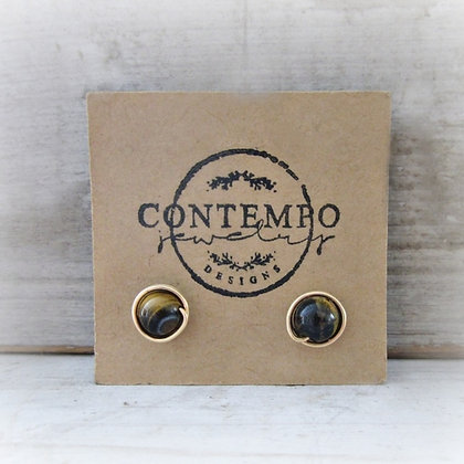 Contempo Tiger Eye +Gold Filled Stud Earrings
