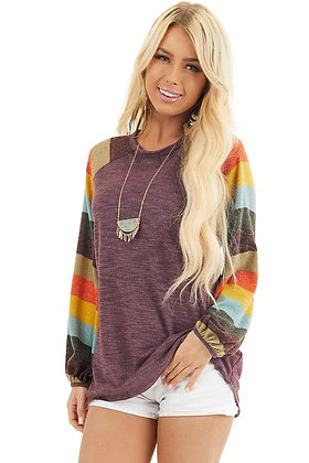 Multi-color Balloon Sleeve Knit Top