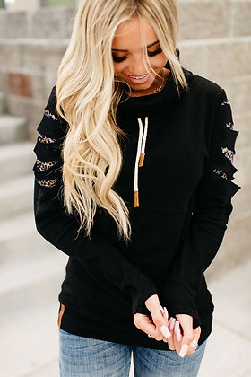Leopard Detail Black Sweatshirt