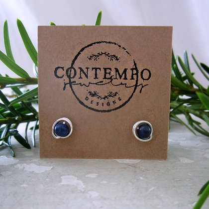 Contempo Tiny Lapis Lazuli +Gold/ Sterling Stud Earrings