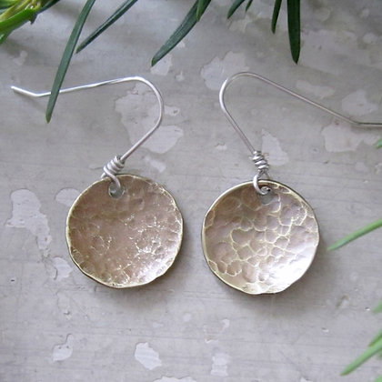 Contempo Small Hammered Raw Brass Disc Earrings