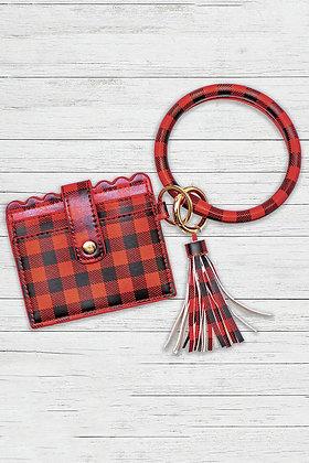 Plaid Leather Tassel Wallet w/ Key Chain