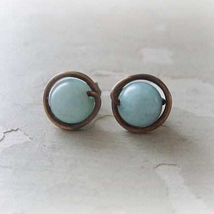Contempo Amazonite + Aged Brass Stud Earrings