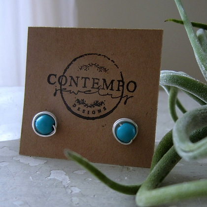 Contempo Turquoise Sterling Stud Earrings