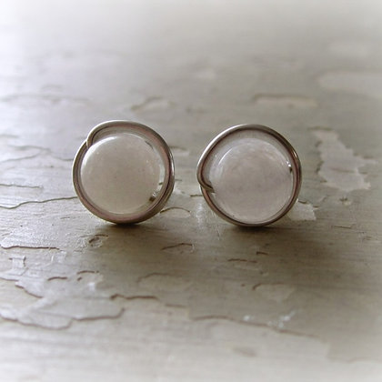 Contempo White Agate + Sterling Stud Earrings
