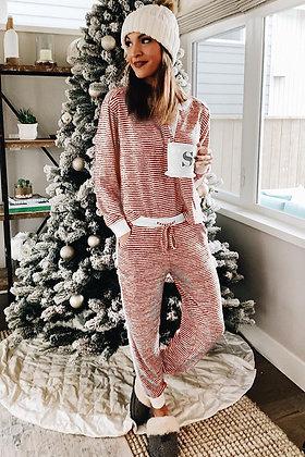 Red Striped Pajamas Set