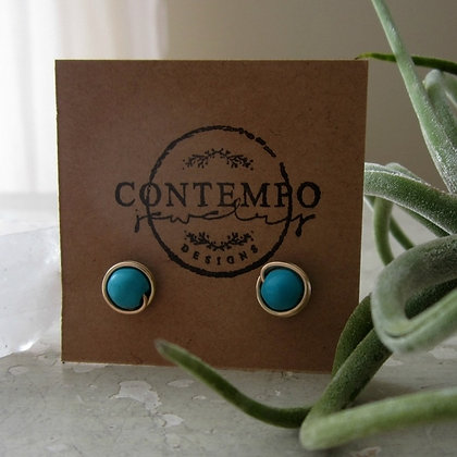 Contempo Turquoise + Gold Filled Stud Earrings