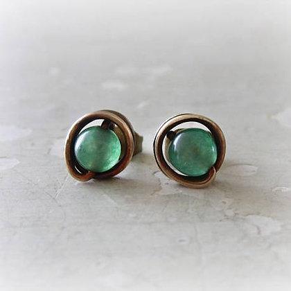 Contempo Tiny Aventurine + Patina Brass Stud Earrings