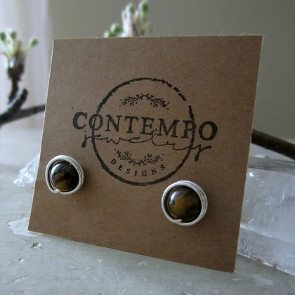 Contempo Tiger Eye Sterling Stud Earrings