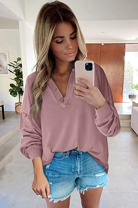 Pink Button V-Neck Loose Fit Top