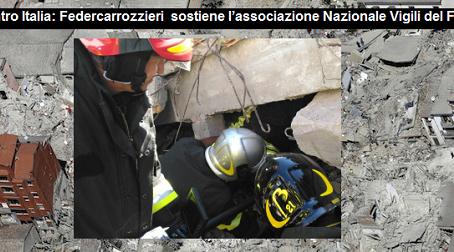 Terremoto Centro Italia: Federcarrozzieri  sostiene l'associazione Nazionale Vigili del Fuoco Volont