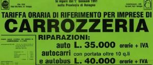tariffa carrozzeria