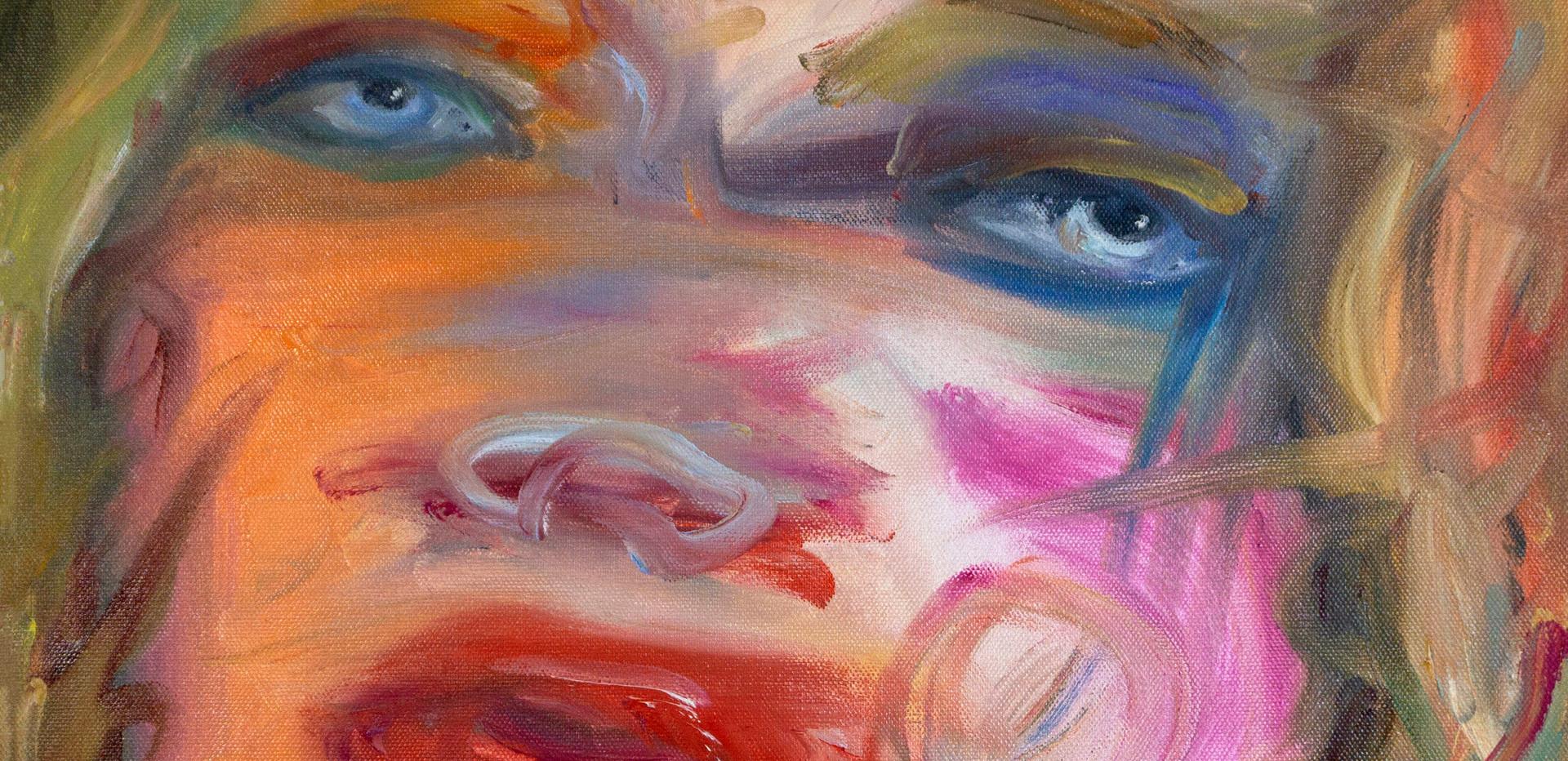 Maria Petrovskaya, Natalia Vodianova, 2020, oil on canvas, 18 x 18 inches